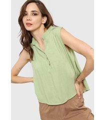 blusa verde nano dalia lino