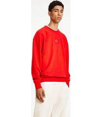 tommy hilfiger organic cotton tonal sweatshirt deep crimson - xxl