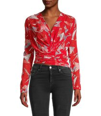iro women's printed stretch-silk ruched top - red - size 38 (6)