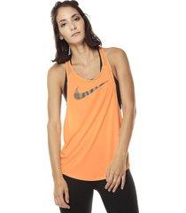 camiseta esqueleto  naranja neón nike w tank flow metallic