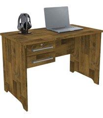 mesa para secretária com gaveta c/ chave alemanha rv móveis marrom - tricae