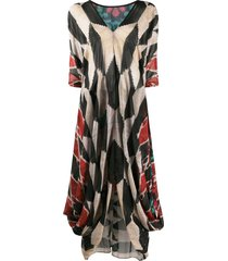 afroditi hera draped multi-pattern maxi dress - black