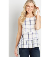 maurices womens white plaid babydoll tank top