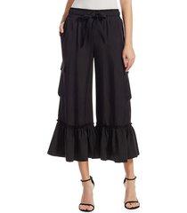 cinq à sept women's tous les jours prisilia cropped cargo pants - black - size xs