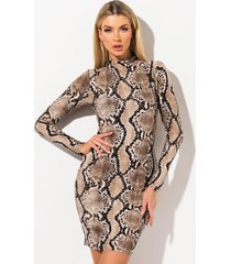 akira watch me go snake print midi dress