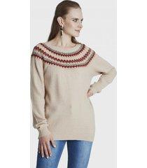 sweater con bordado beige  curvi