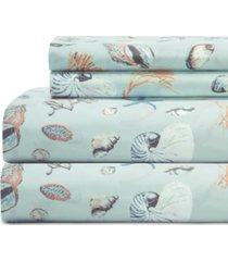 coastal 4-pc. printed full sheet set bedding