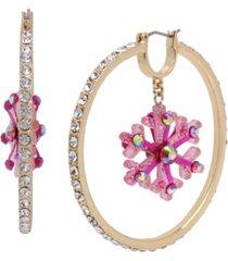 betsey johnson snowflake charm hoop earrings