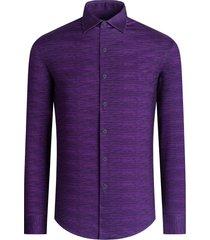men's bugatchi ooohcotton regular fit tech knit button-up shirt, size xx-large - purple