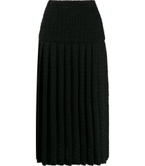 alexandre vauthier tweed-style pleated skirt - black
