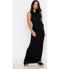 maternity racer neck maxi dress, black