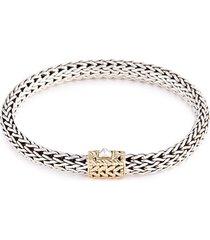 18k yellow gold silver woven chain bracelet
