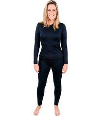 conjunto segunda pele roupas térmicas feminino frio extremo preta