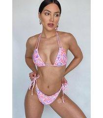 neon paisley tie triangle bikini, coral