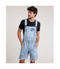 macacão curto jeans masculino destroyed azul claro