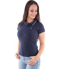 camisa polo slim meia malha com elastano marinho traymon cp0723 - azul/azul marinho - feminino - algodã£o - dafiti