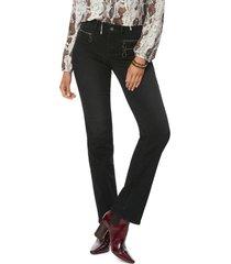 petite women's nydj marilyn hip zip straight leg jeans, size 18p - black