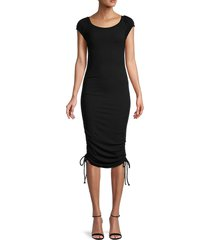 betsey johnson women's ribbed midi bodycon dress - black - size s