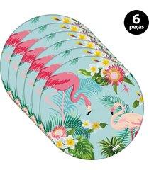 capa para sousplat mdecore flamingo  azul 6pã§s - azul - dafiti