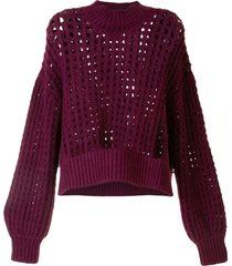 lhd open knit sweater - purple
