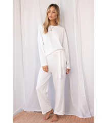 womens you're a softie ribbed top and wide-leg lounge set - white