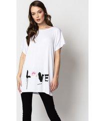 t-shirt love & rose white