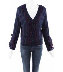 carolina herrera striped wool knit ruffle cardigan blue sz: m