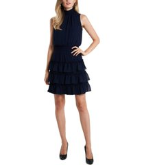 msk smocked-trim tiered dress