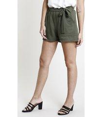 short feminino em moletom com amarração verde militar