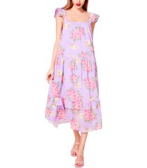betsey johnson cotton bouquet-print maxi dress