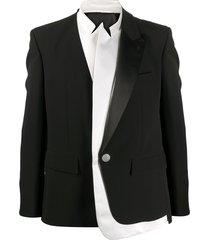 balmain layered long-sleeve blazer - black