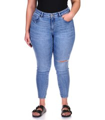 plus size women's dl1961 florence instasculpt ripped ankle skinny jeans, size 22w - blue