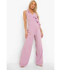 zwangerschap wide leg jumpsuit met franjes en laag decolleté, lilac
