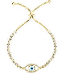 chloe & madison women's 14k gold vermeil & crystal evil eye tennis bracelet