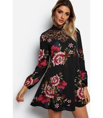 black lace insert random floral print perkins collar long sleeves dress