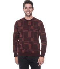 suéter slim jacquard passion tricot drew vinho