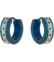 brinco argola de aço inox tudo joias modelo trançado azul