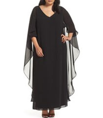 plus size women's xscape cape overlay chiffon gown, size 16w - black