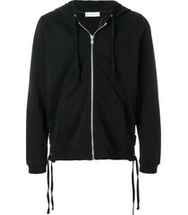 faith connexion lace-up side detail zipped front hoodie - black
