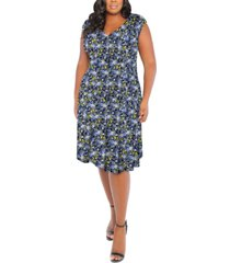 london times plus size floral-print v-neck fit and flare dress