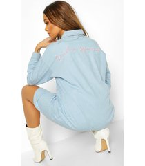 bride squad embroidered denim shirt dress, mid blue