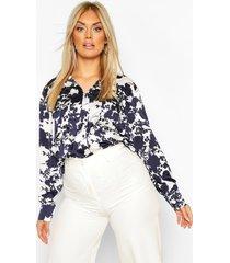 plus floral satin utility shirt, navy