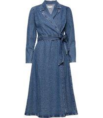 slfharper ls fray blue denim dress w knälång klänning blå selected femme