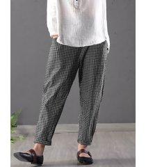 pantaloni in coton a quadri