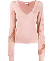 chloé knit and lace v-neck sweater - pink