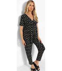zwangerschap bloemenpatroon wikkel jumpsuit, black