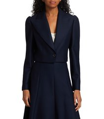 michael kors women's spencer cropped jacket - midnight - size 10
