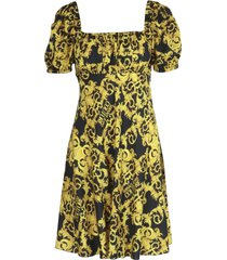 versace jeans couture twill print logo baroque dress