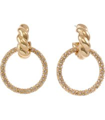 christian siriano new york gold tone twisted top drop earrings with pave ring