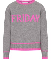 alberta ferretti grey girl sweater with fucshia writing